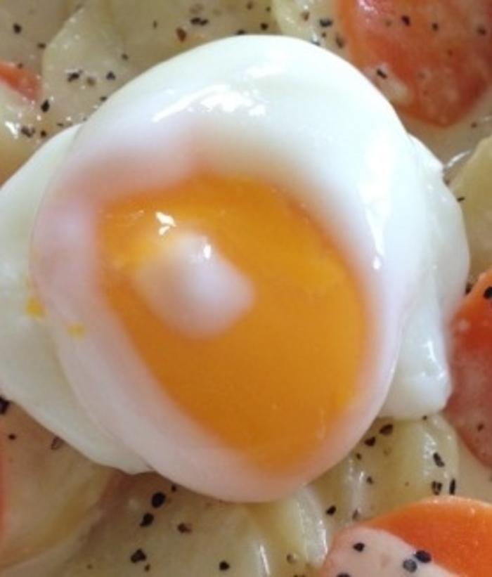 レンジ 半熟 卵